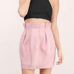 Tobi Blush Pink Structured Pleated Mini Skirt